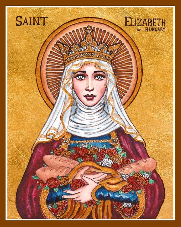 St. Elizabeth of Hungary by Theophilia on deviantART ~ watercolor, ink & gold leaf