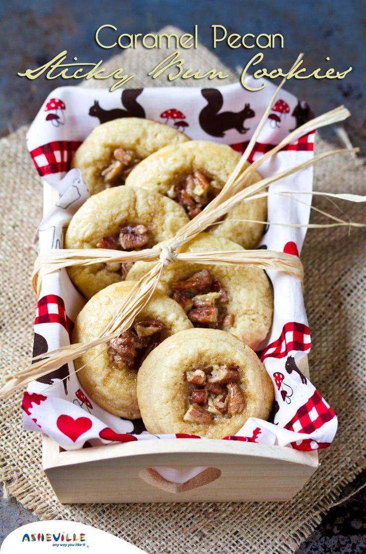 Caramel Pecan Sticky Bun Cookies   ExploreAsheville.com #cookies #holidays #recipes