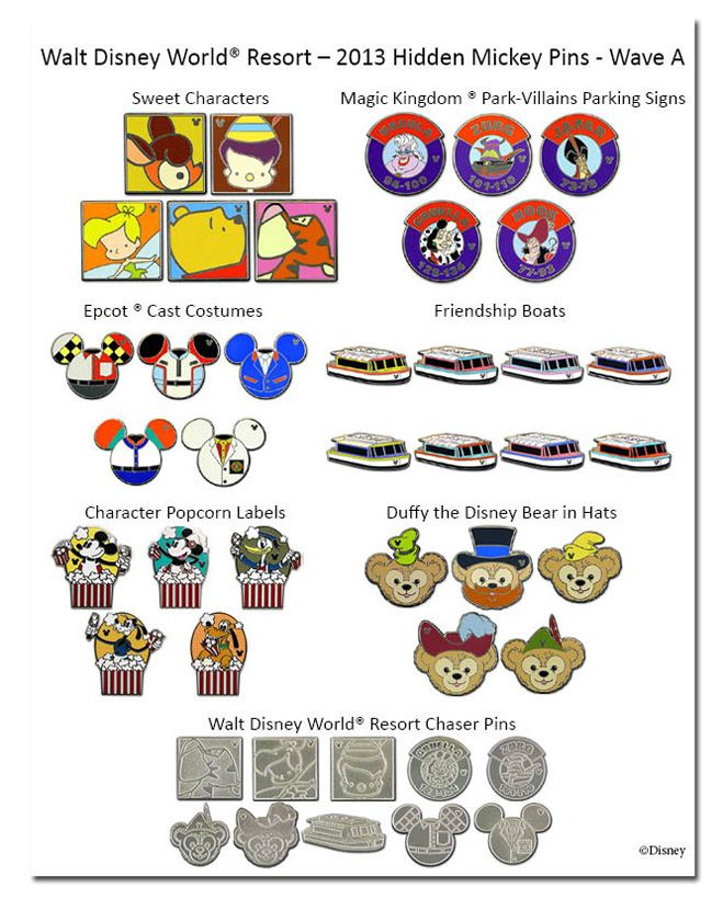Checklist Hidden Mickey Pins | Once Upon a Pin Podcast: 2013 Hidden Mickey Wave A Released