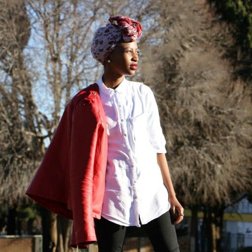 oversized shirt, jeans and leather jacket paired with headwrap