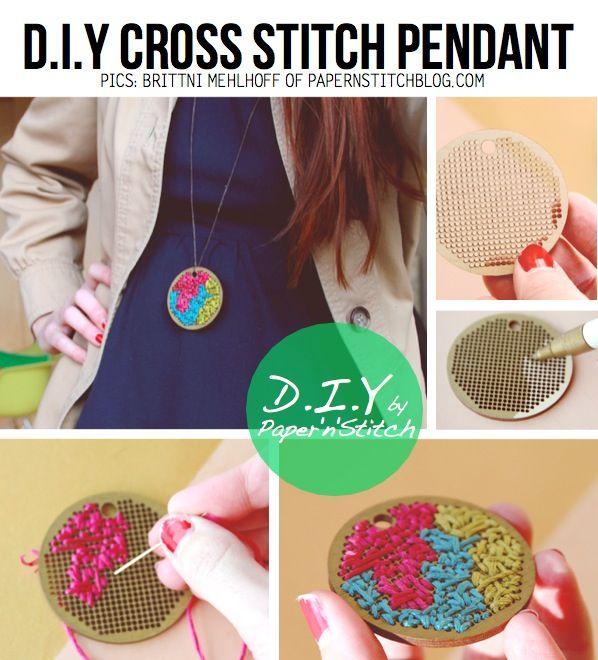 Cross stitch pendant DIYIdeas, Diy Necklaces, Crosses Stitches Pendants, Canvas, Cross-Stitch Pendants, Diy Ropa, Accessories, Stitches Diy, Pendants Diy