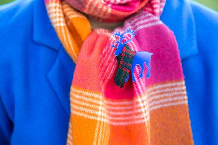 Blue Deer Brooch. Shop online for designer brooches at KiviMeri. http://www.kivimeri.com/brooches/
