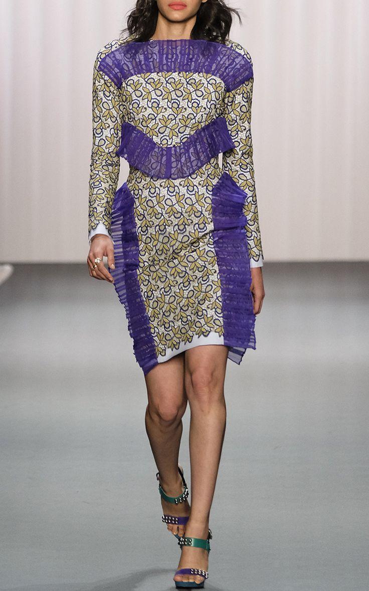 2017 Pleated Trim Long Sleeve Lace Dress by Bibhu Mohapatra | Moda Operandi…