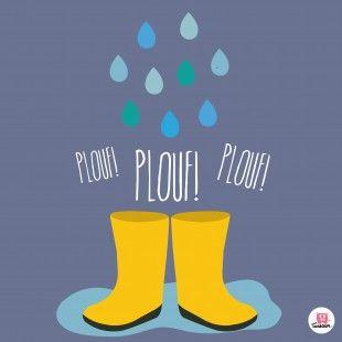 Affiche retro chambre enfant, Plouf plouf sous la pluie de la marque Boum badaboum.