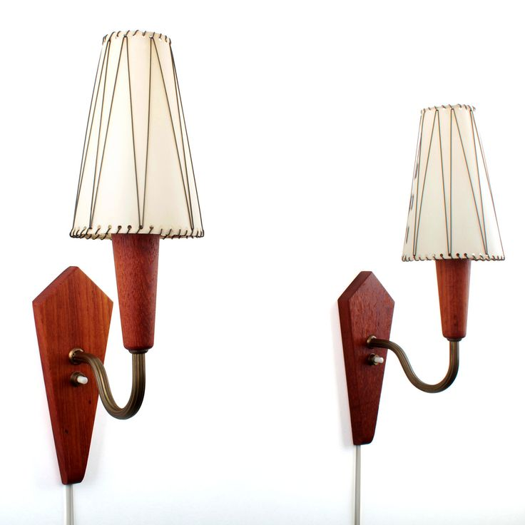 WALL SCONCES - pair of teak wall lamps - Vitrika - 1960s. Danish mid century design. Pair of very charming wall lamps with original shades! by DanishVintageDesigns on Etsy