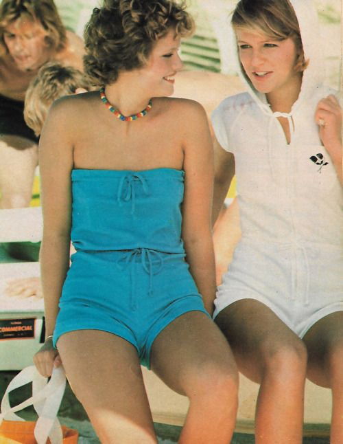 cacce0ffaf March 1977.  Keep your cool in a strapless turquoise romper with drawstring  top and waist.
