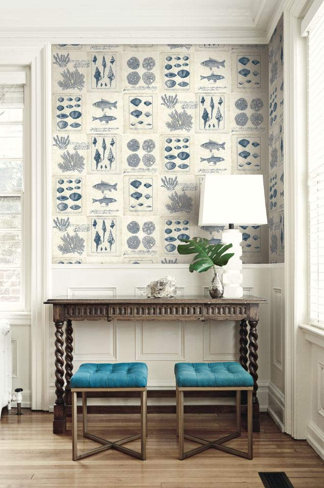 By the Sea Wallpaper from Wallquest's Destination USA Collection. Illustrations of fish, shells, and coral create a sophisticated nautical look.