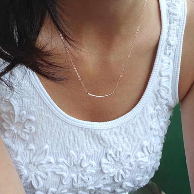 Curved bar necklace - Silver tube necklace - dainty layered jewelry  XL297