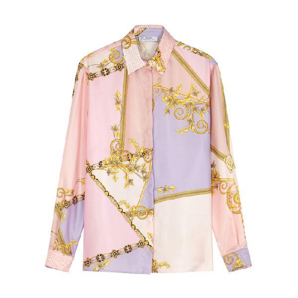 Versace Printed Silk Sweatpants In Multicolored | …