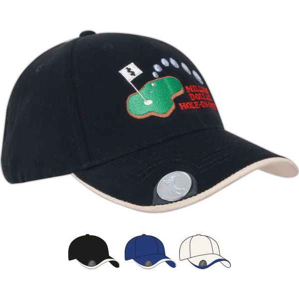 Brushed heavy cotton cap with magnetic ball marker on peak.  Structured 6 panel low profile, pre-curved peak with ball marker, and fabric strap and embossed buckle and metal slit. Choices for customization include: structured or unstructured; material (cotton, twill, etc.); color with panels and peak; decoration type; placement of decoration; peak options; under peak color and material; closure options; matching eyelets or contrasting; button options; seam stitching; seam taping options…