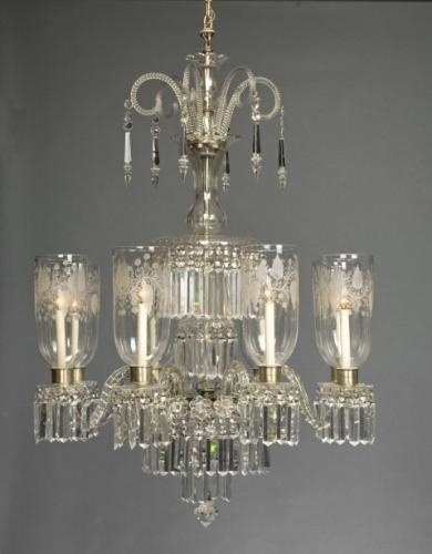 Cut Crystal Chandelier With Hurricane Shades Anglo Irish C 1800