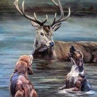 Tableau de chasse : cerf et chiens dans l'eau