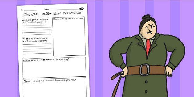 Matilda Miss Trunchbull Character Profile Worksheet - roald dahl