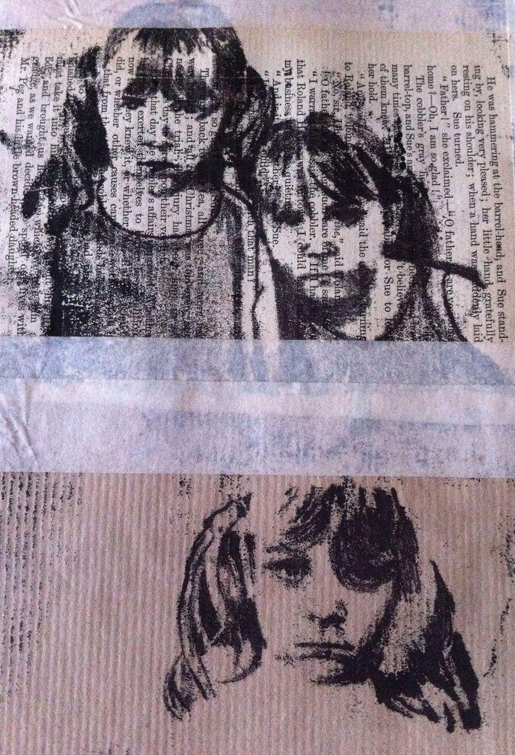 Monoprint portraits of my cousins
