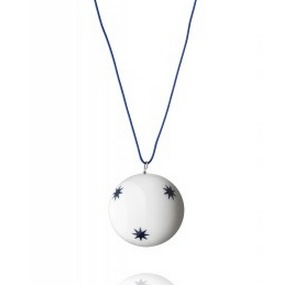 Set of 3 medium Christmas decorative bauble with navy blue stars by Anne Black, $60