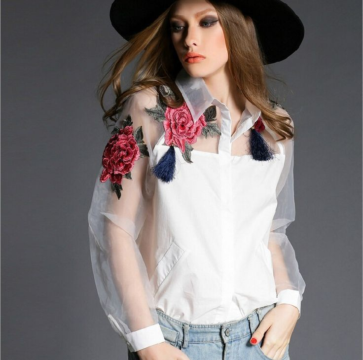 High quality Womens Cute Embroidered Tops 2015 Spring Fashion Blusas Femininas High Street White Sheer  Long Sleeve Blouse 606B