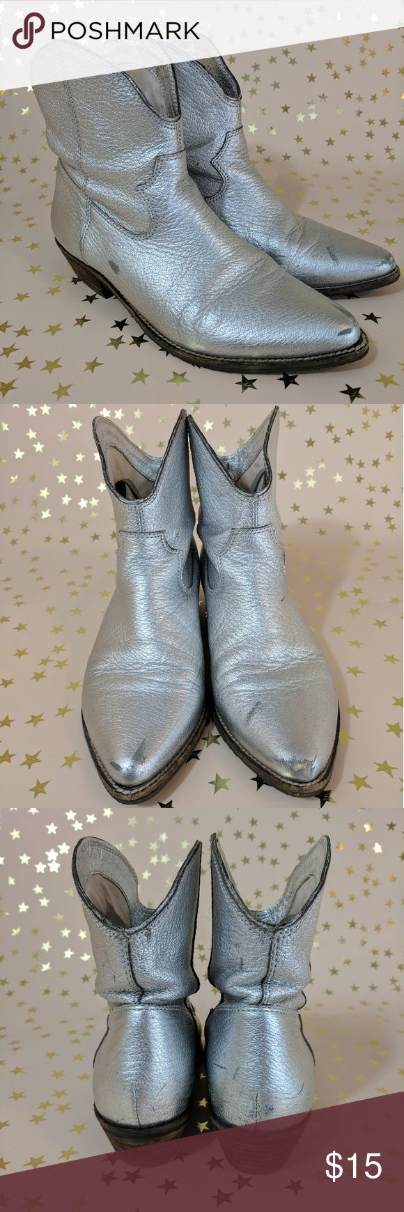 Silver Ankle Space Cowboy Boots A little scuffed up from all my Texas two steppin' and contra dancing up in the stars 🌟🌛🌞😎 Nicole Shoes Ankle Boots & Booties
