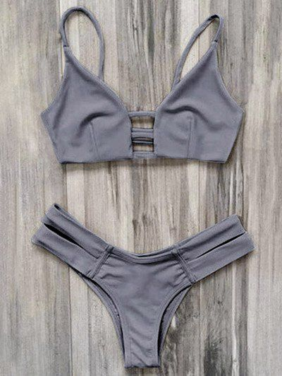 SHARE & Get it FREE | Caged Bandage Bikini - GrayFor Fashion Lovers only:80,000+ Items • New Arrivals Daily Join Zaful: Get YOUR $50 NOW!