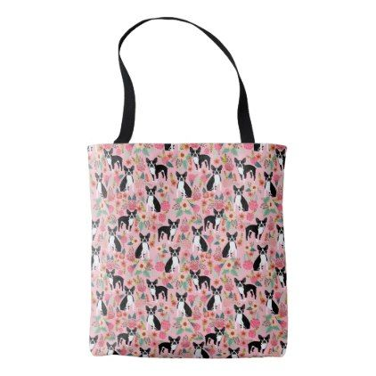 Boston Terrier Floral Tote Bags - boston terrier - floral style flower flowers stylish diy personalize