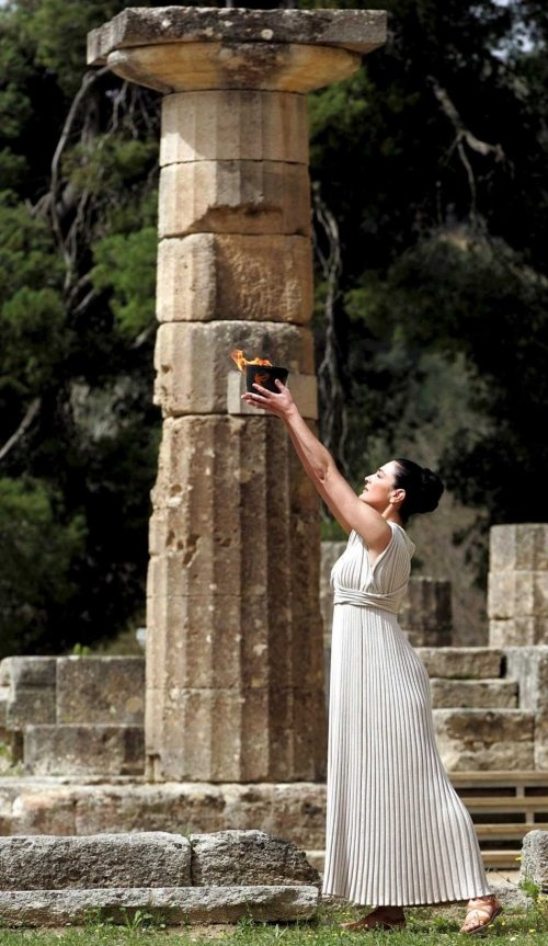Olympic Flame Ceremony  Ancient Olympia, Peloponnese, Greece