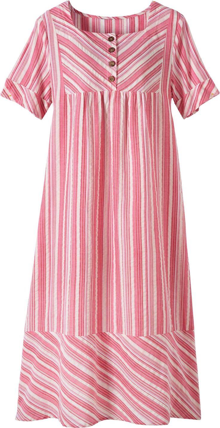 Square Neck Cotton Nightgown   Seersucker Weave Gown
