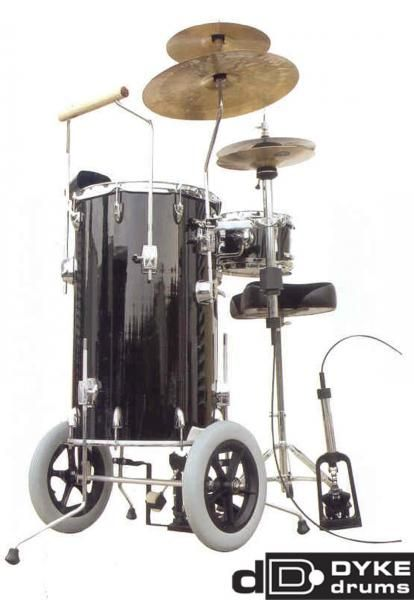"""The Dyke drums """"mobile"""" cocktail set doubles as a walker for those nursing home gigs, but you need to call an aide to help you drag the throne and the remote hi hat pedal to the dining room."""