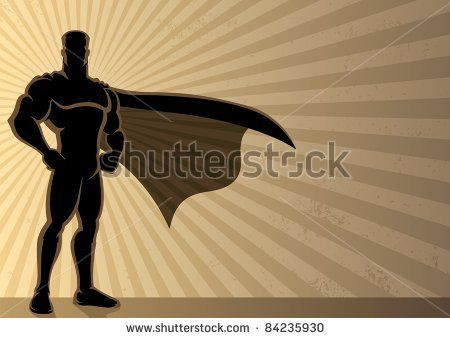 Superhero Background: Superhero over a grunge background with copy space.  No transparency used. Basic (linear) gradients used for the background. A4 proportions. - stock vector