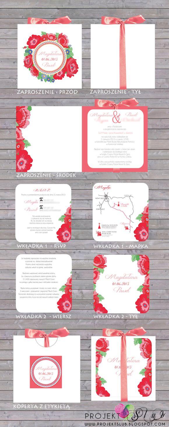 projekt ŚLUB - zaproszenia ślubne, oryginalne, nietypowe dekoracje i dodatki na wesele: podhaLOVE - nietypowe zaproszenie ludowe z kwiatowym...