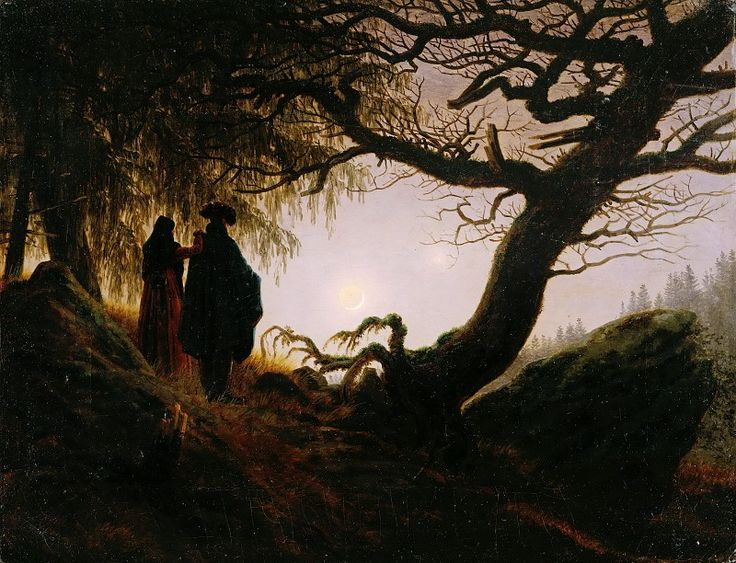 Мужчина и женщина, созерцающие луну. Каспар Давид Фридрих