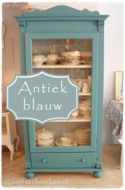 #verftechnieken #antiekblauw - Hoe kun je een antiekblauw kleureffect creëren.