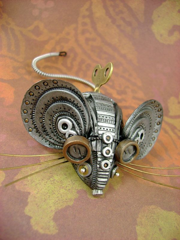 Squ33x - Mechanical Mouse - Steampunk Industrial Polymer Clay - Sculpture / Figurine. $91.00, via Etsy.