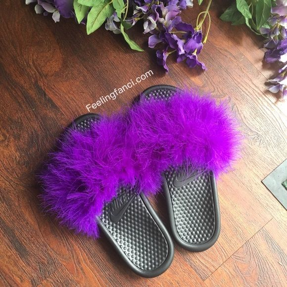 Purple Faux Fur Nike Slides Nike Fur Slides In Purple Passion. Perfect for birthday gifts ,Bridal, or bridesmaid ,Christmas gifts ,slumber parties, or just simply wear around the house or outside on the go. Super comfortable stylish and sexy slippers. Nike Shoes Athletic Shoes