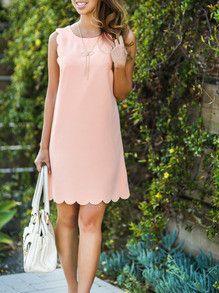pink dress, preppy dress, scallop trim dress, spring dress, white bag - Lyfie
