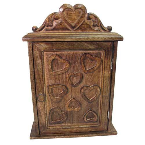 Once A Tree Mango Wood Key Box Heart Design