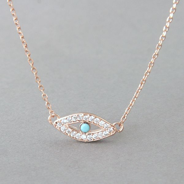 Rose Gold Evil Eye Necklace from Kellinsilver.com – turquoise evil eye necklace, evil eye jewelry