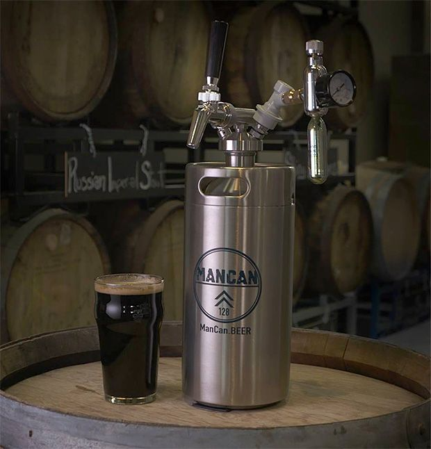 ManCan. A gallon of beer breaks down to roughly eleven 12-ounce bottles. And that's how much beer you can fit in this mini keg. The Stainless steel ManCan runs off a pressure-regulating CO2 cartridge and features a standard keg tap. Once full, it keeps your beer carbonated & fresh for up to a week. $125-$155