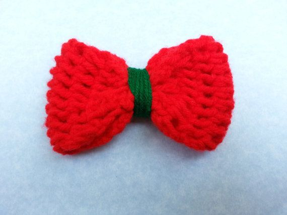 Christmas Hair Bow, red and green bow, crochet hair bow