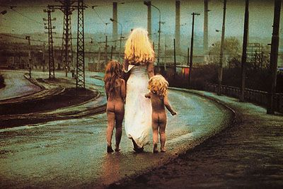 Fate Descends towards the River Leading Two Innocent Children, 1970 by Czech artist Jan Saudek, one of my favorites.
