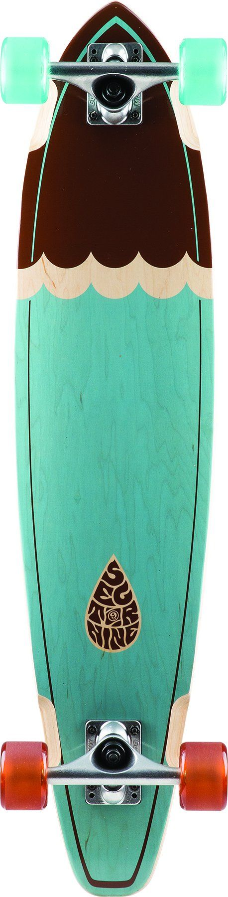 "Sector 9 Highline Blue and Brown Complete Pintail Longboard New On Sale. Sector 9 Highline 2016 Longboard Measures 34.5"" x 8.0"". Sector 9 Longboard Trucks. Sector 9 Longboard Wheels. Sector 9 Grip Tape, Sector 9 Speed Bearings. Comes Fully Assembled and Ready to Ride!."