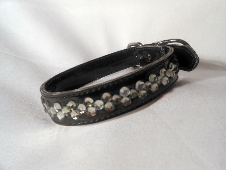 BLACK DIAMOND DICE  $24.95  Black collar with a more subtle row of diamantes