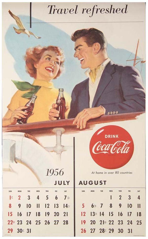 Coca Cola, siempre apostó por la publicidad. Calendario de 1956