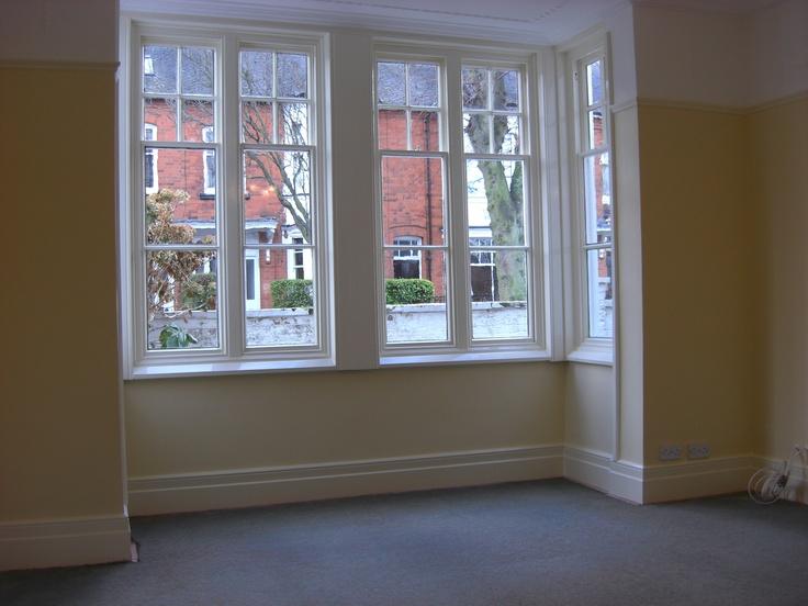 square bay sash window