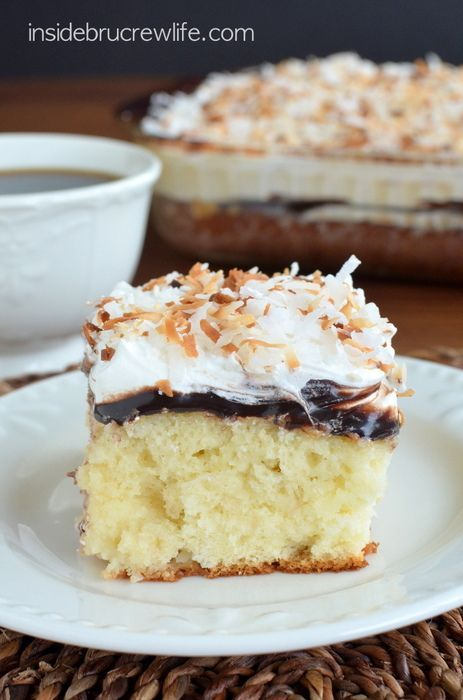 Coconut Fudge Poke Cake - chocolate and coconut make this cake disappear every time I make it