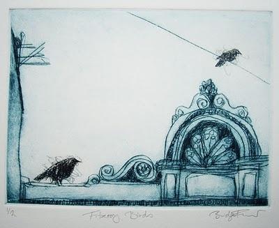 Fitzroy Birds, drypoint etching