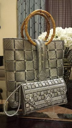 Helena Sassy Unique Handbags & Wristlets - Crossed Corners Design
