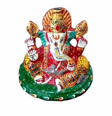 Confused about the best gifts for birthdays and other special occasions? Take a look at this 1st Home Sitting Ganesha statue in a lovely antique multi color. This amazing statue is made of metal and will delight any recipient immensely.