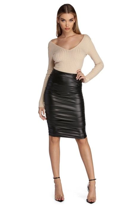 cfec0262e Ruched Faux Leather Pencil Skirt | Tight outfits | Faux leather pencil skirt,  Leather Skirt, Leather