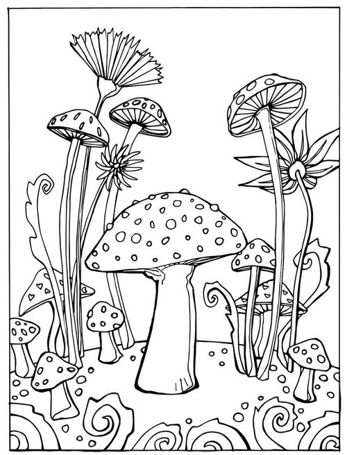 cartoon mushrooms coloring pages - photo#40