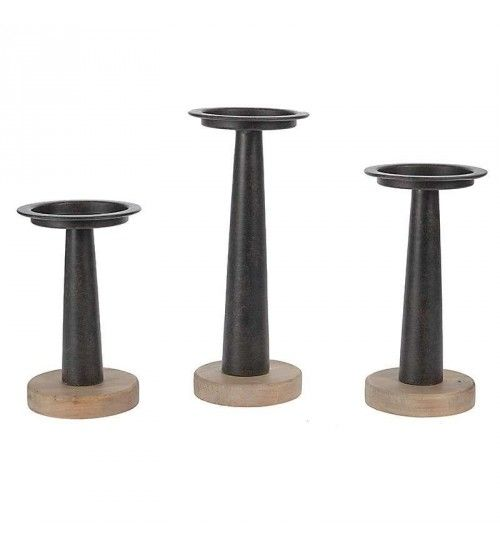 S_3 WOODEN_METAL CANDLE HOLDER  11X11X27