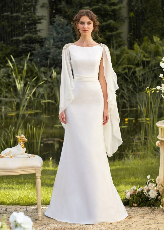 Wedding Gown Designer Stylish Classical silhouette from soft taffeta and chiffon sleeves Made to order on Etsy, $1,070.00